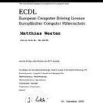 Abschluss Zertifikat des ECDL